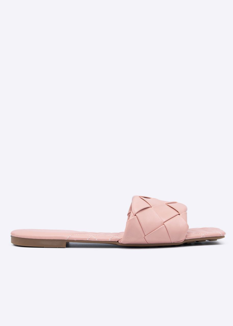 Flats mit geflochtenem Steg, rosa