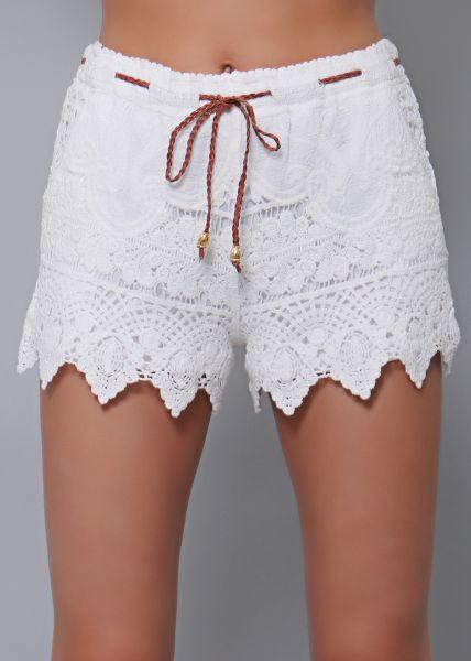 Spitzen-Shorts, weiß