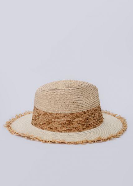 Strohhut mit breiter geflochtener Bordüre, beige
