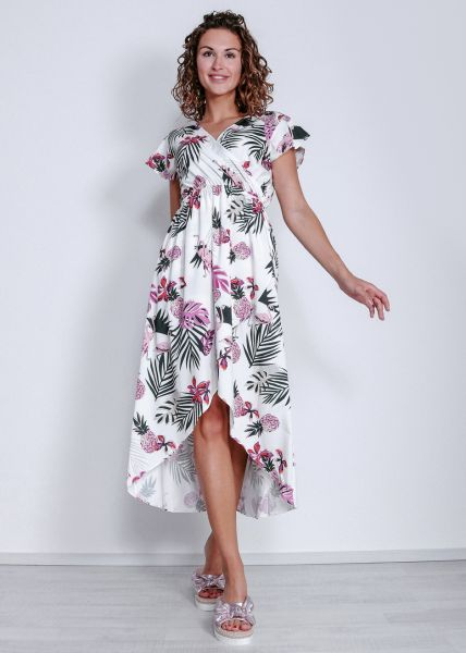 Kleid mit Flamingo-Print, weiß