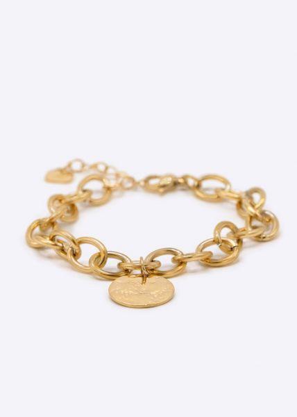 Gliederarmband mit Anhänger, gold