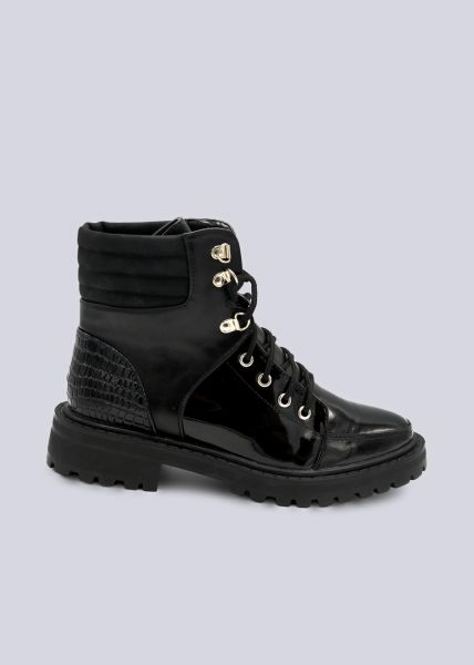 Trekking-Boots mit Kroko-Ferse, schwarz