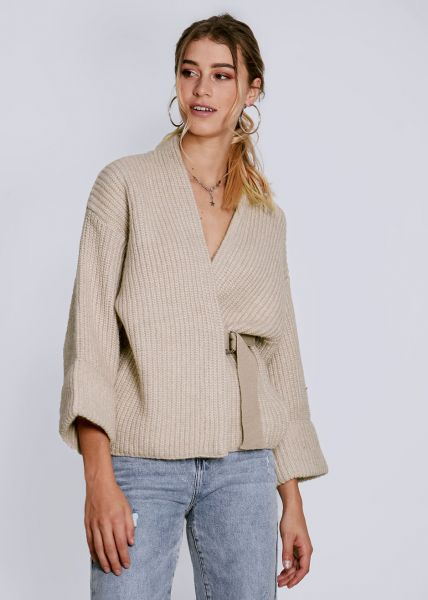 Flauschiger Wickel-Cardigan, beige