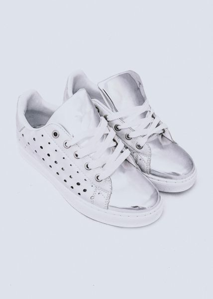 Sneaker mit Lochmuster, silber