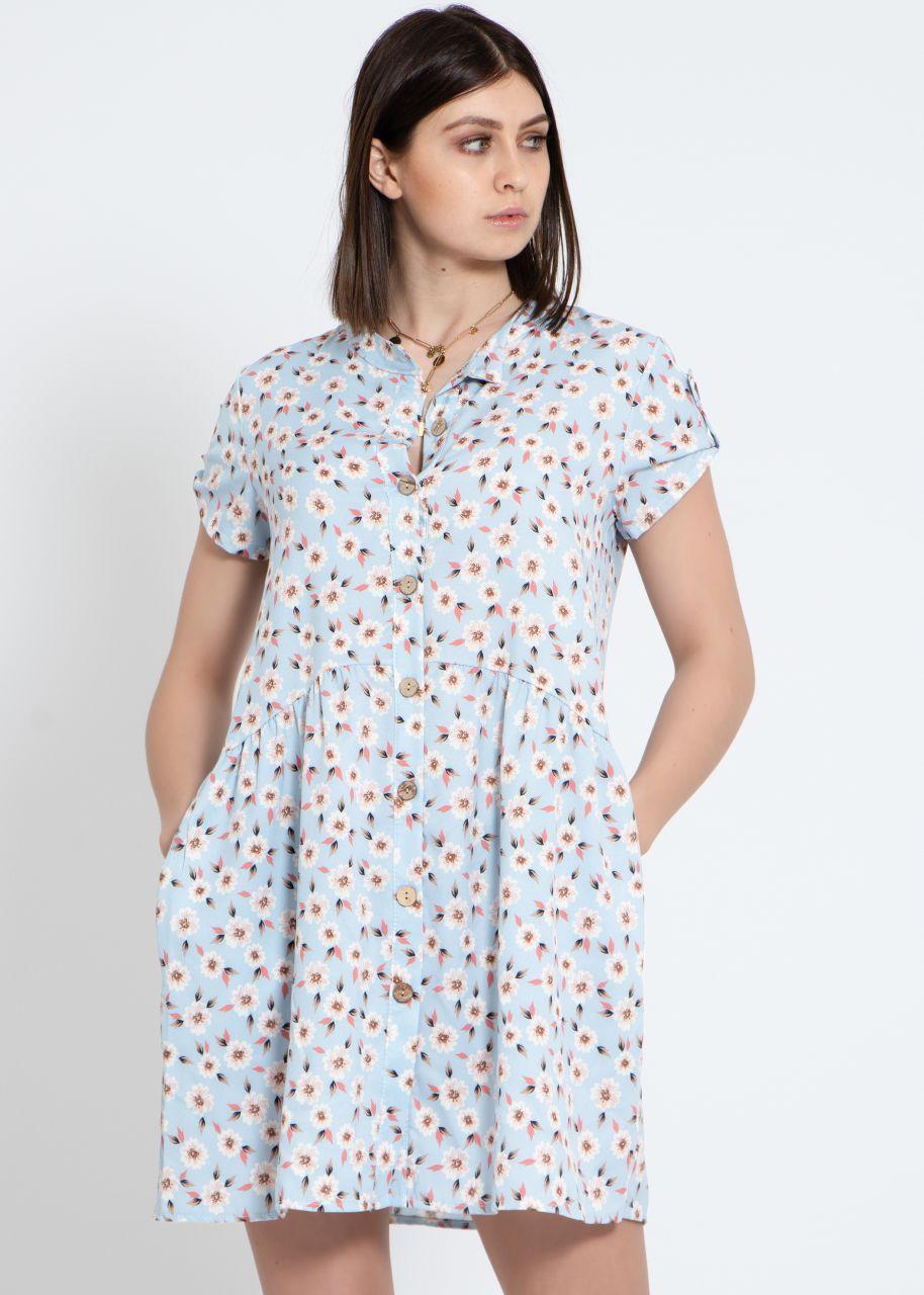 Kleid mit Blumen-Print, hellblau
