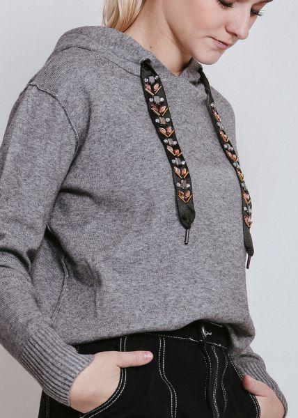 Hoodie mit bestickten Bändern, grau