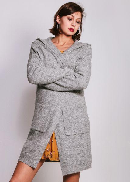 Strick-Cardigan mit Kapuze, grau