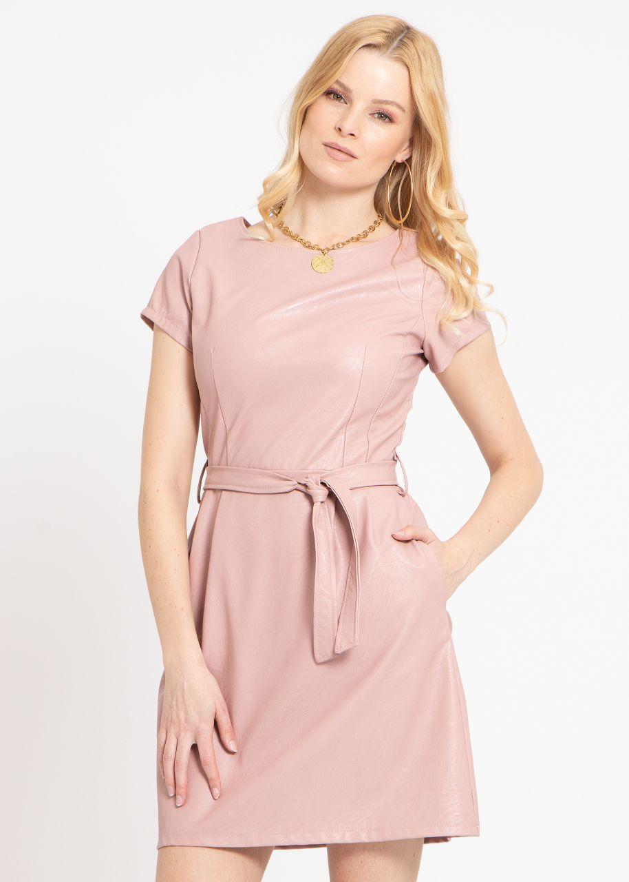 Leder-Kleid, rosa