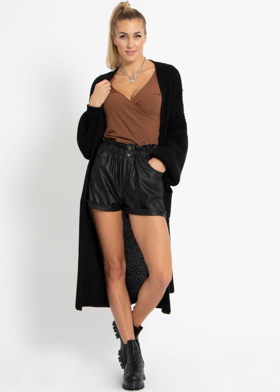 Leder-Shorts, schwarz