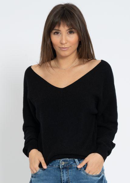 Pullover mit V-Aussschnitt, schwarz