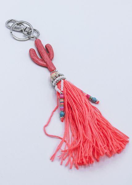 Taschenanhänger mit Kaktus, neonorange