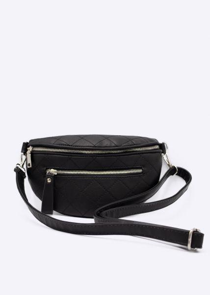 Tasche/Gürteltasche, gesteppt, schwarz