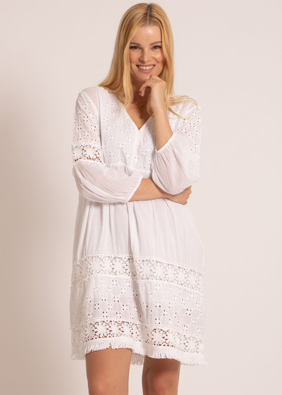 Baumwoll-Kleid mit Spitze, weiß