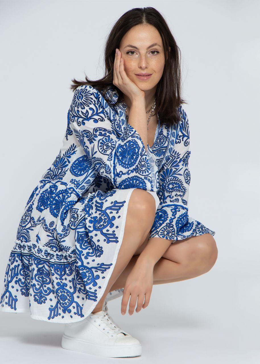 Kurzes Tunika-Kleid mit Print, blau