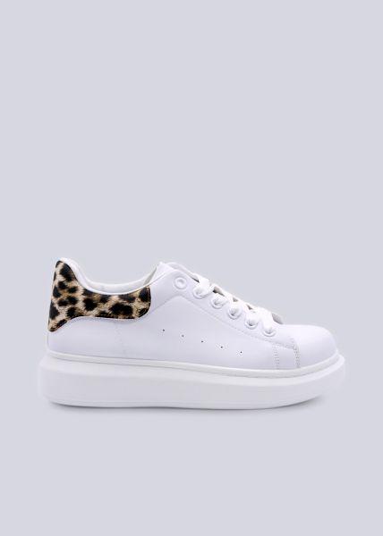 Plateau-Sneaker mit Leo-Ferse, weiß