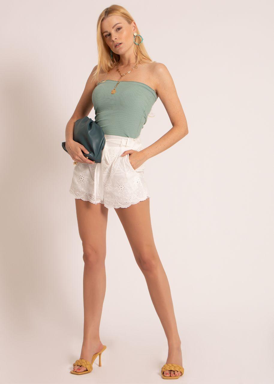 Shorts mit Spitze, weiß