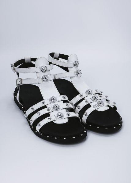 Sandalen mit Nieten, weiß