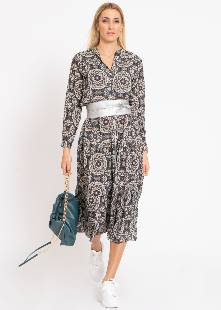Hängerchenkleid mit Print, grau/blau
