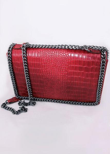 Umhängetasche aus Leder mit Prägung, rot