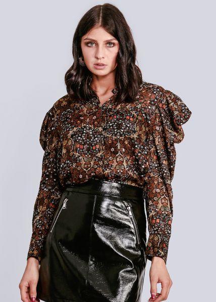 Bluse mit gerafften Ärmeln und mit Blumen-Print, braun