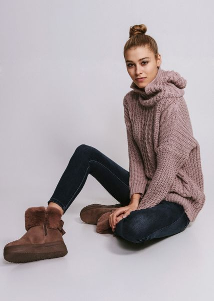 Oversize Pullover mit Hoodie, rosa