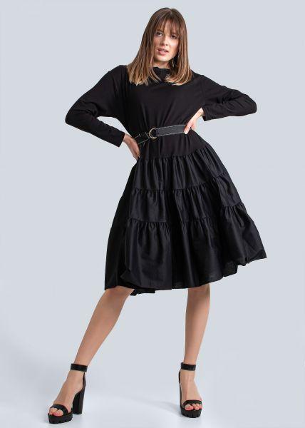 Baumwollkleid mit weitem Volantsrock, schwarz