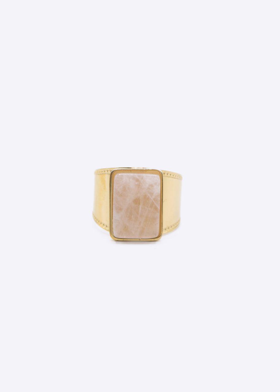 Ring mit Rosenquarz Stein, gold