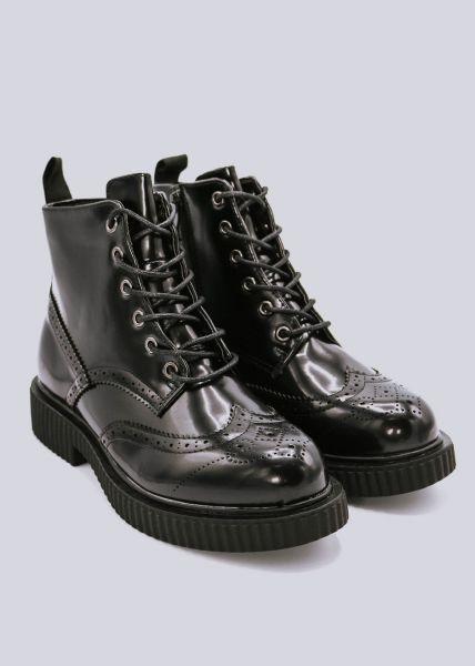 Boots mit Absteppung, schwarz