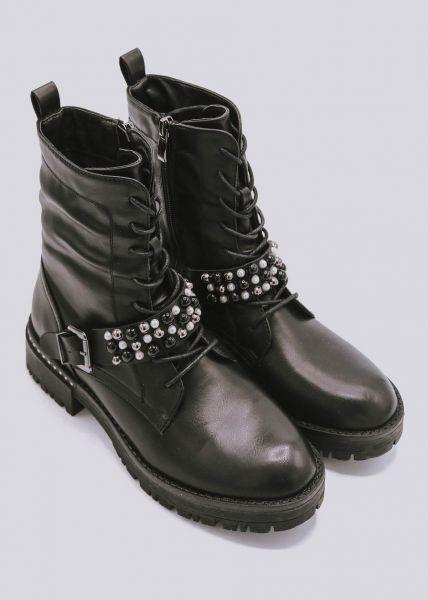 Stiefel mit Perlenband, schwarz