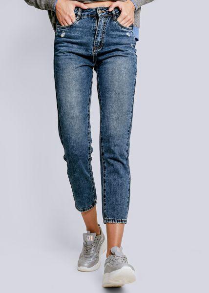 Midwaist-Jeans, leicht destroyed, blau