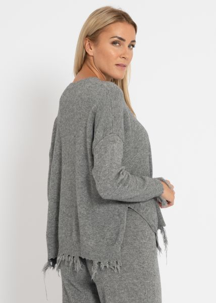 Destroyed Pullover, grau