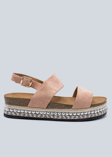 Plateau-Sandalen mit Nieten, rosa