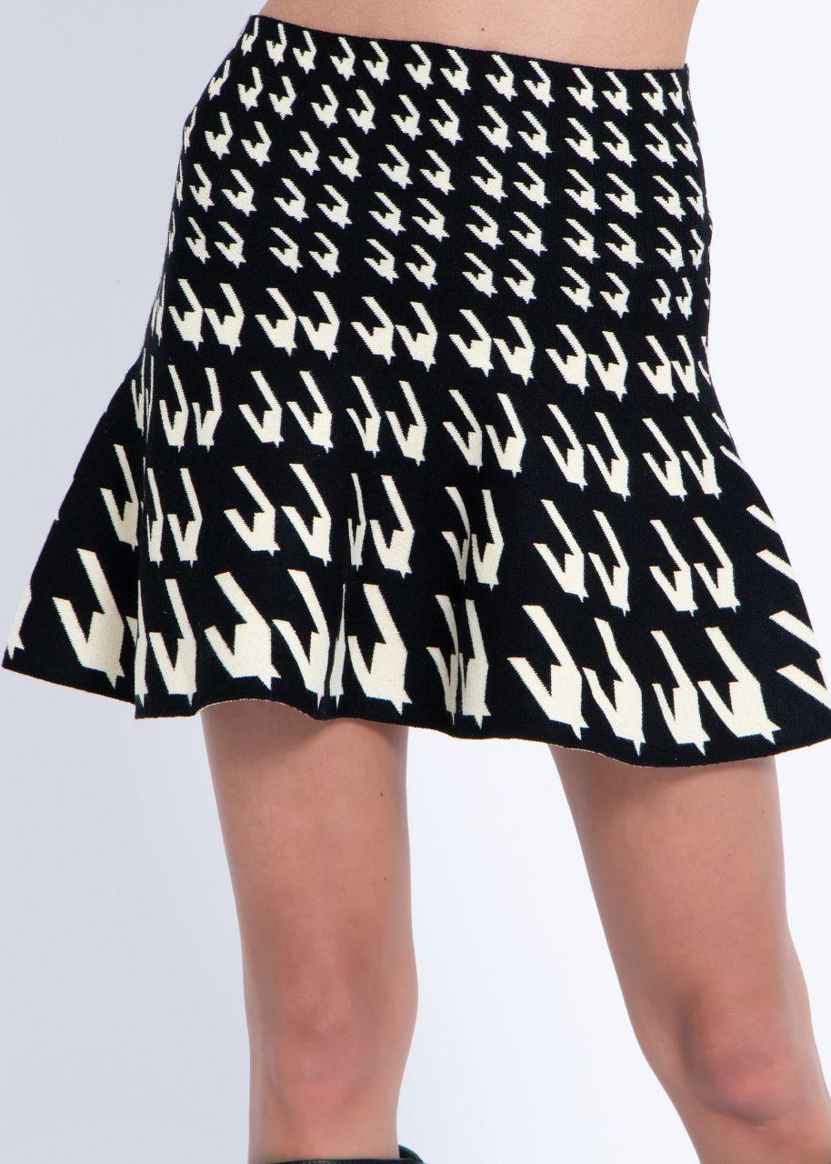 Strickrock mit Hahnentritt-Muster, schwarz/offwhite