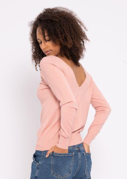 Pullover mit Rückenausschnitt und Spitzenborte, rosa