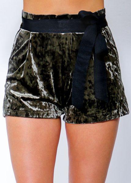 Samt-Shorts, khaki