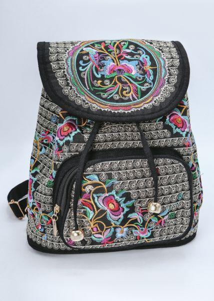 Rucksack mit Stickerei, schwarz