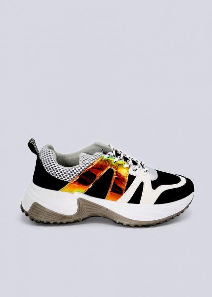 Plateau-Sneaker mit breiten Leuchtstreifen, schwarz