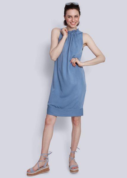 Shiftkleid mit gerüschtem Kragen, blau