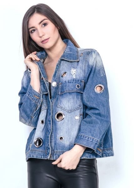 Oversize Jeansjacke mit Nieten