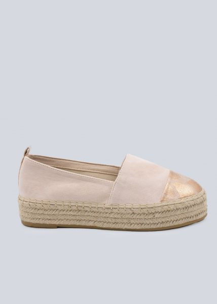 Plateau-Espadrilles mit Kappe in Snake, rosa