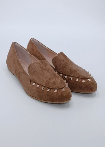 Loafer mit Nieten, cognac
