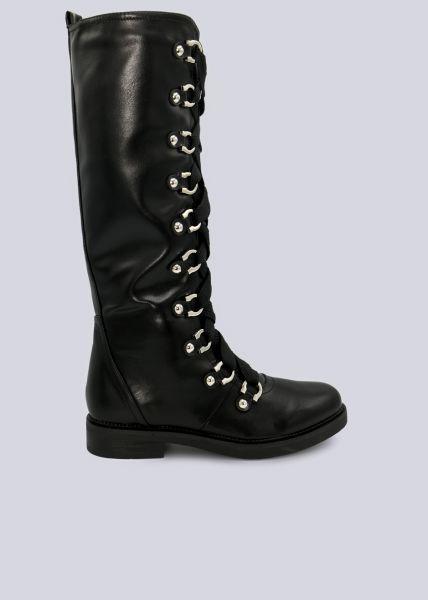 Stiefel mit Schnürung, schwarz