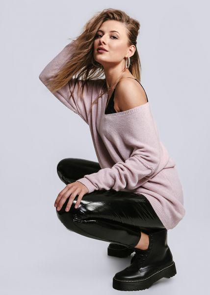 Oversize Pullover mit Außennähten, rosa