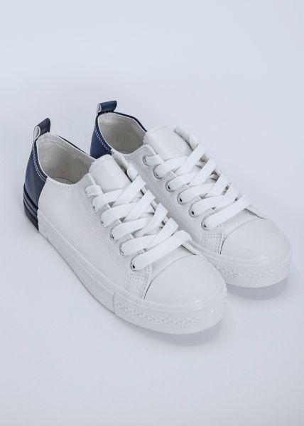 Sneaker mit blauer Ferse, weiß