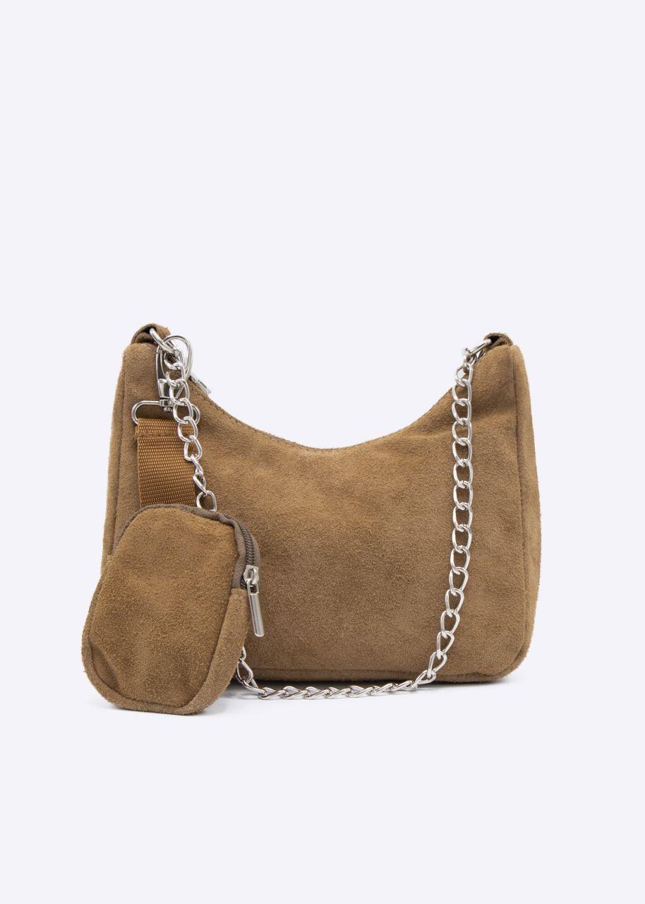 Velours-Leder-Tasche, beige