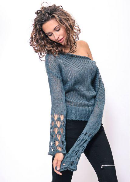 Pullover mit weitem Ausschnitt, petrol