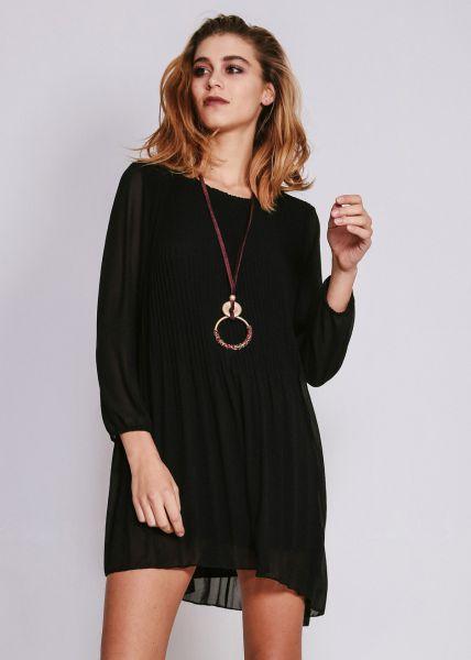 Plisseekleid, schwarz