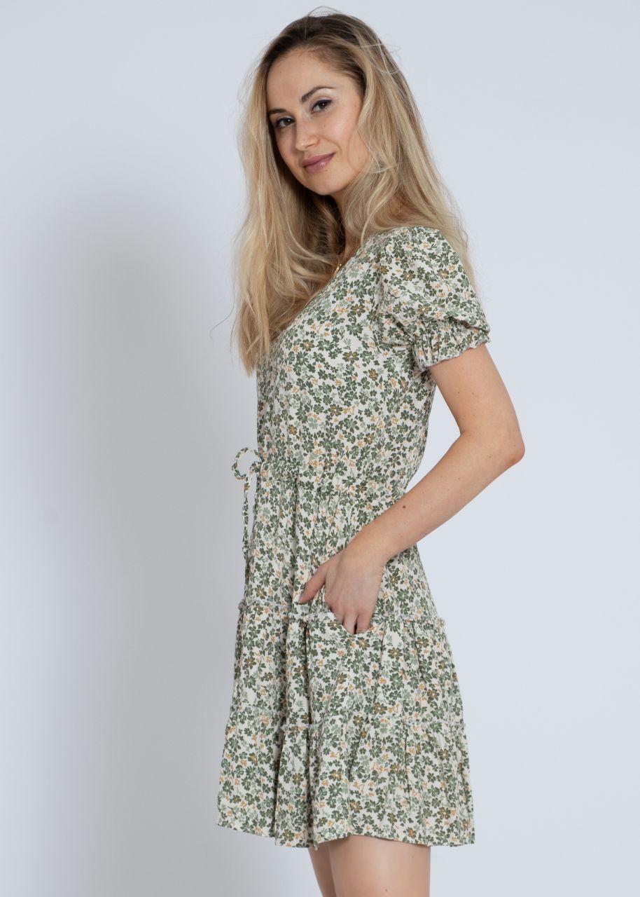 Kleid mit Blumen-Print, grün