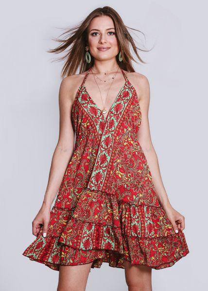 Rückenfreies Kleid mit Volants, rot