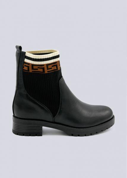Chelsea-Boots mit gemusterten Strickeinsätzen, schwarz